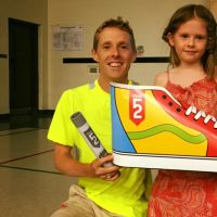 Eric Gillis and daughter at John Galt PS 'Pass the Baton' in Guelph, 2017. (Rio Summer Olympics 2016, Men's Marathon) image