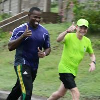 St. Kitts and Nevis Olympian, Kurvin Wallace runs with Richard, November 2015. (Atlanta Summer Olympics 1996, 200m) image